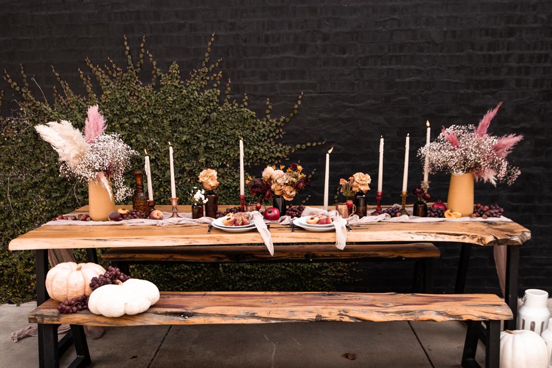 Moody fall wedding tablescape