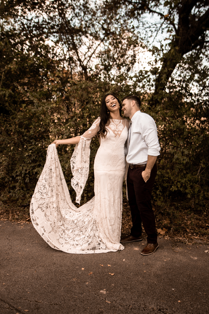 Bride and Groom eloping at an Airbnb in Texas