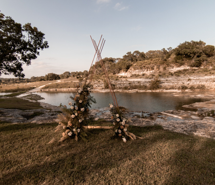 An elopement ceremony arch in texas