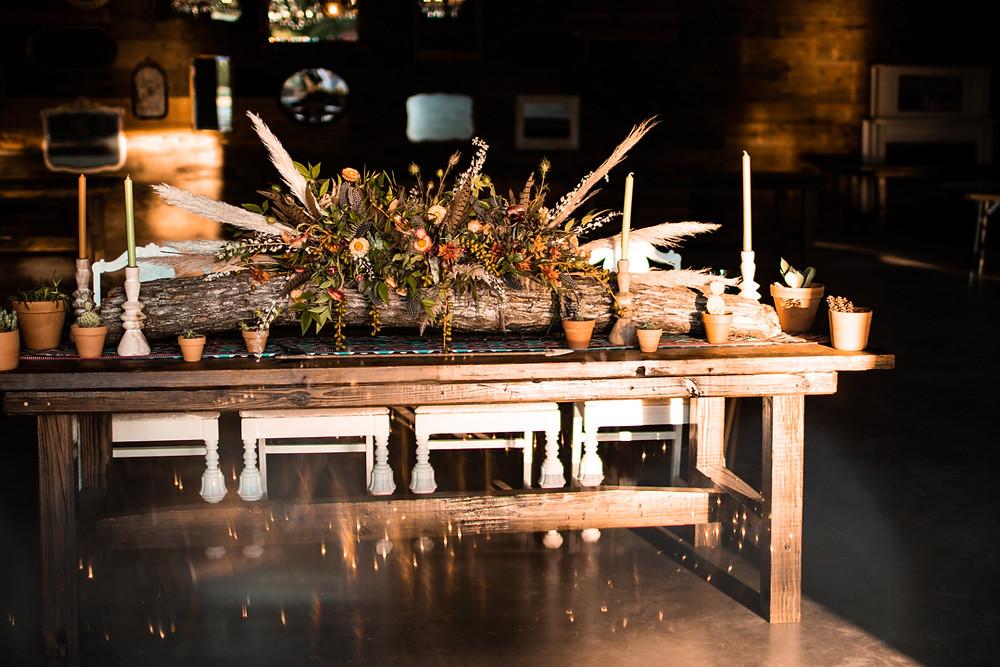Earthy and boho wedding table decor in Graham Texas