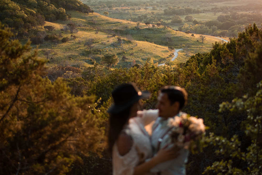 couple eloping in the texas hill country