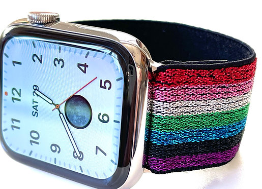 Elastic Apple Watch Band Rainbow Bling