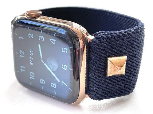 Wide Plush Elastic Watch Band for Apple, Fitbit Versa, Fitbit Blaze True Navy