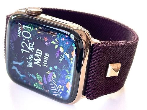 Elastic Apple Watch Band NEW Aubergine!! European Fabrics