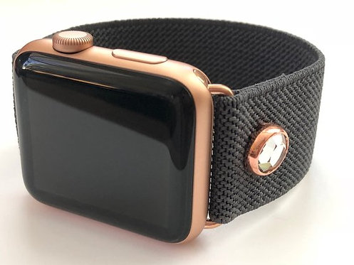 Elastic Apple Watch Band Series 4 3 2 1 Charcoal Gray with Rose Gold Crystal
