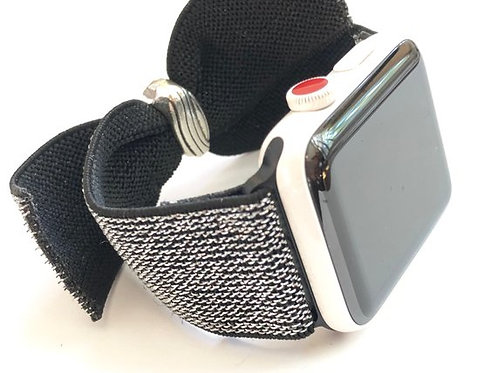 Elastic Watch Band Metallic Silver Bow bands for Apple, Fitbit Versa & Samsung