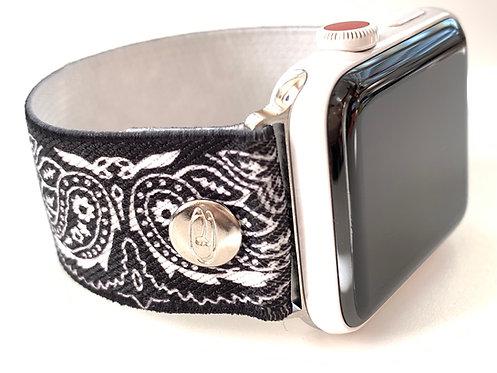 Elastic Apple Watch, Fitbit Versa, Fitbit Blaze Bands Black Paisley
