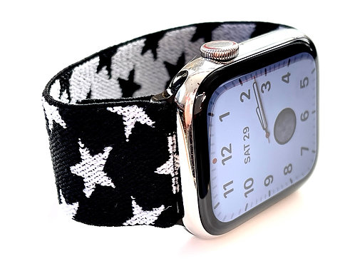 Elastic Apple Watch Band  Black and White Stars