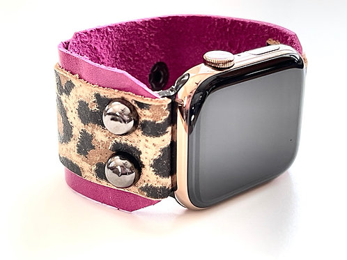 Apple Watch Band Extra Wide Leather Leopard, Hibiscus butter soft leathers
