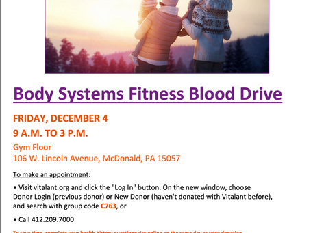 Body Systems Fitness December Blood Drive