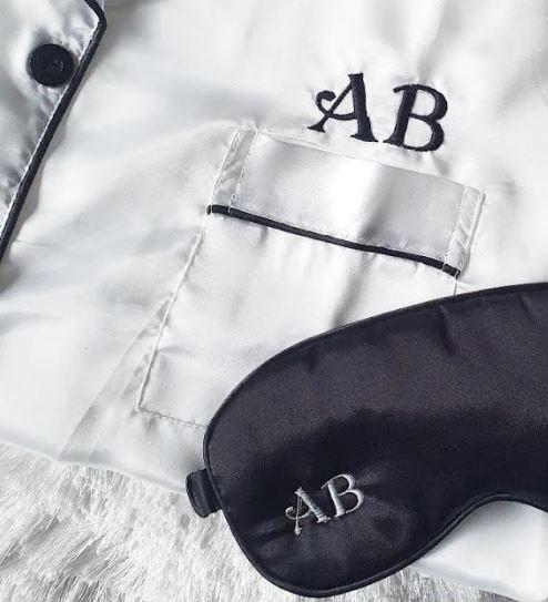 Personalised Long Satin Pyjamas & Sleepmask Set