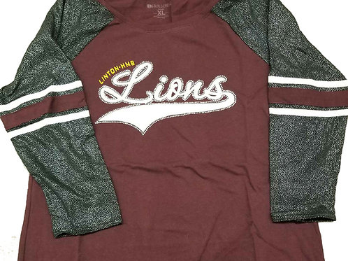 LIONS 3/4 Baseball Tee with BLING