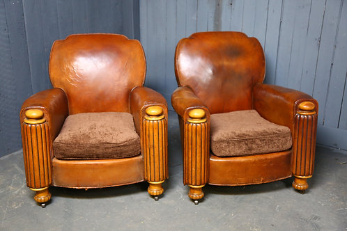 C1930's Leather Club Chairs