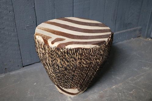 C1920's African Zebra Skin Drum