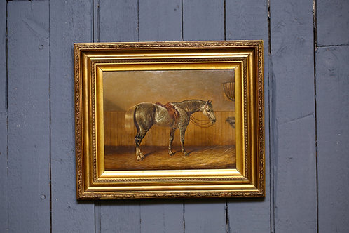 C19th Oil on board depicting a thoroughbred horse