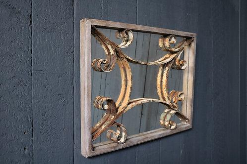 C19th Metalwork Mirrored Panel