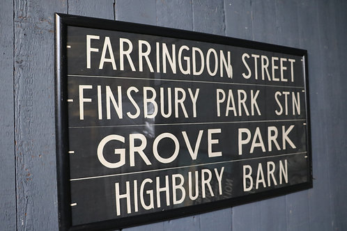 C1950's London Bus Route Signs