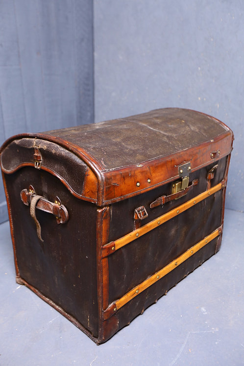 C1900 Canvas and leather bound travelling trunk
