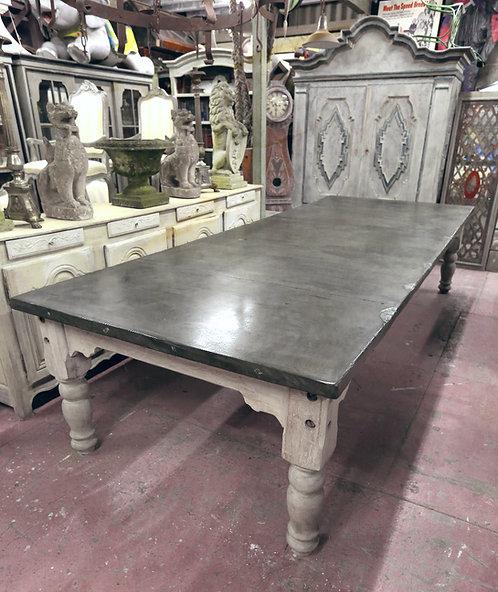 C19th Bleached oak and solid slate top table