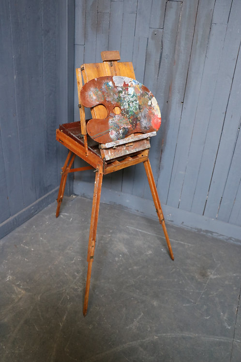 C20th French Travelling Artists Easel and Pallet