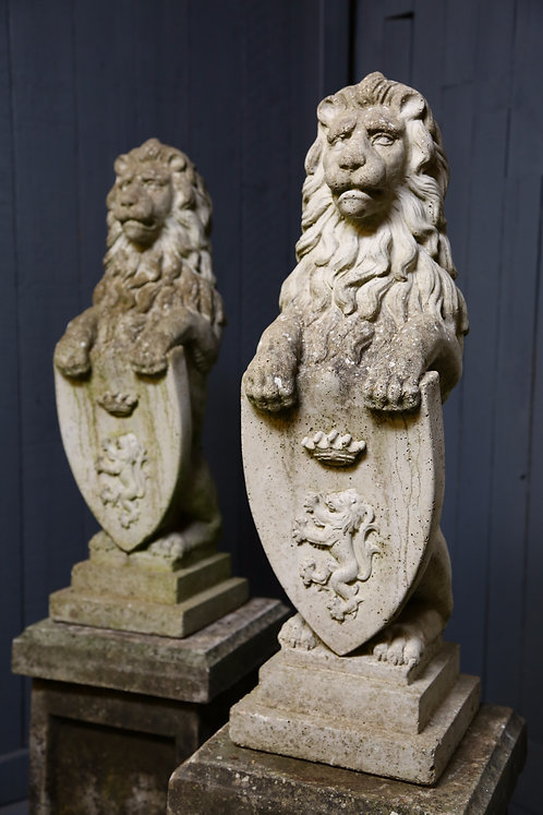C20th Composition pair of lions