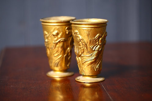 C19th Bronze and gilded vessels