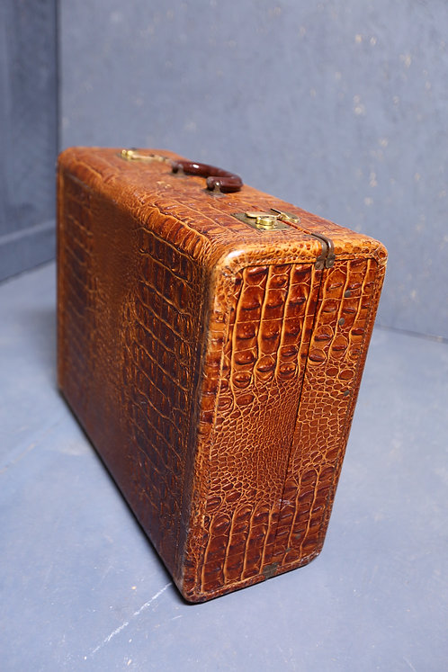 C1920's Gentlemans faux crocodile suitcase
