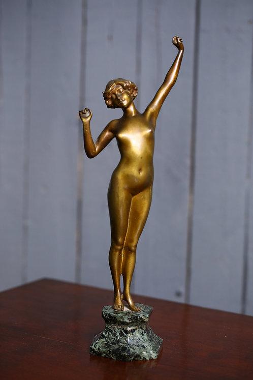 C1920 art deco nude bronze