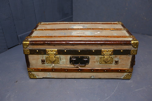 C1890 canvas and wooden bound travel trunk
