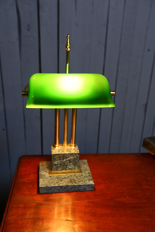 C20th Brass on marble desk lamp
