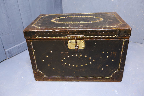C1880 Black canvas brass studded travel trunk