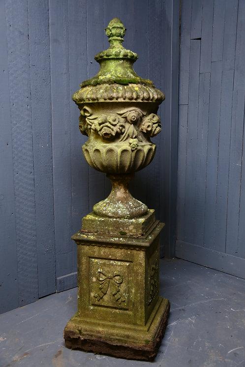 C20th Moulded Composition Urn on Pedestal