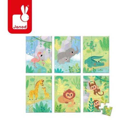 Puzzle 12 pz giungla - 6 soggetti