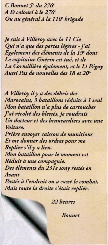 message cdt Bonnet  le 05_09_1914 au soir