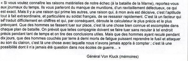 Déclaration de Von Kluck après la Marnei