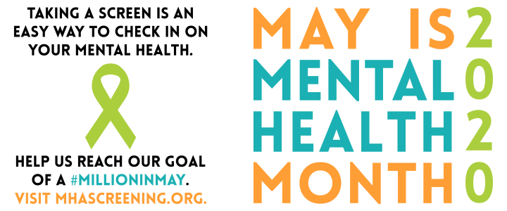 Mental Health Awarness Month flyer from MHA (Mental Health America)