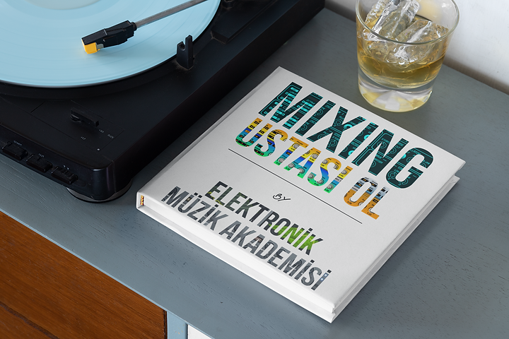 mockup-of-a-squared-book-next-to-a-recor
