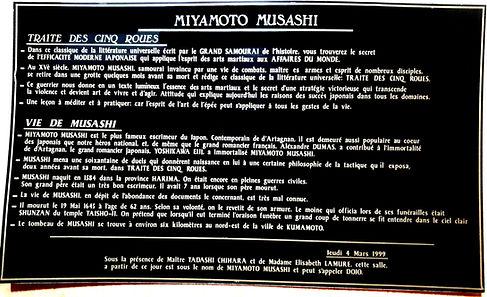 Texte inauguration Dojo Miyamoto Musashi 4 mars 1999