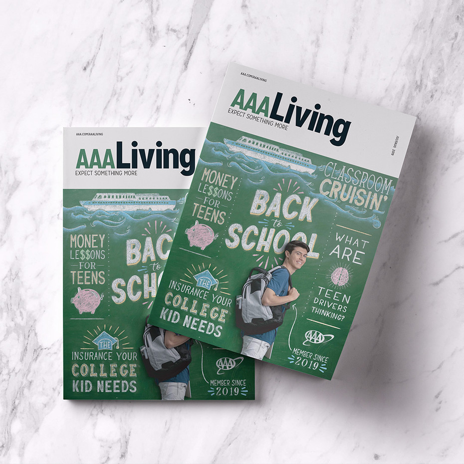 AAA Living Hand Lettered Magazine Cover