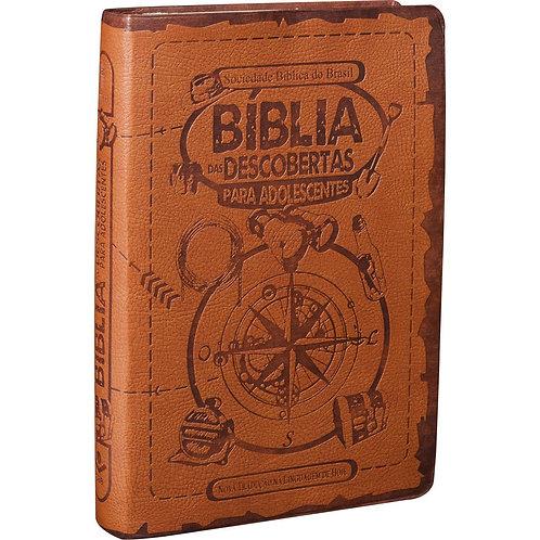 Bíblia das Descobertas para Adolescentes | Letra Normal | NTLH | Capa Couro Marr