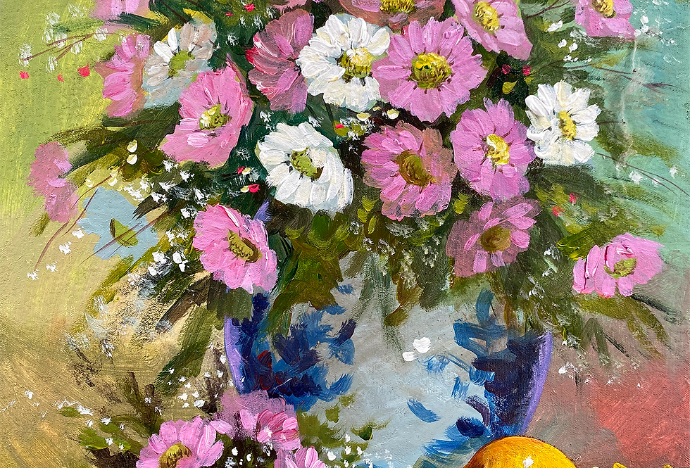 Daisy with Chinese Blue and White Vase
