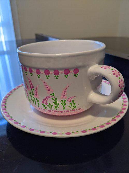 Pink Flowers Soup Mug & Plate
