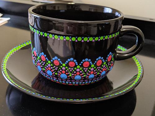 Soup Mug & Plate (green, red, purple, blue)