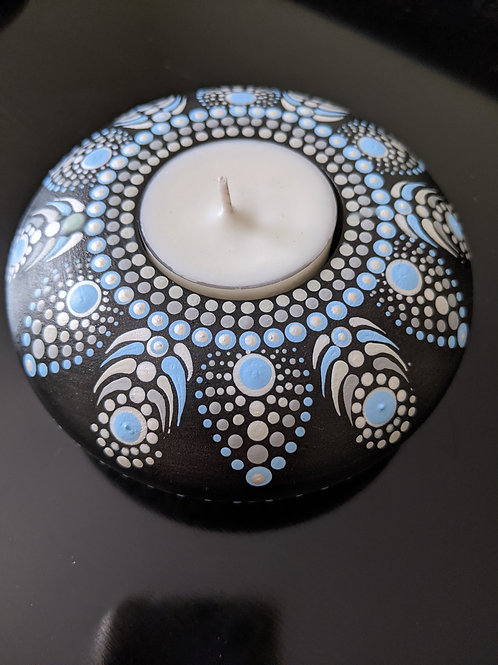 Dotted Tea Light Holder (blue and gray)