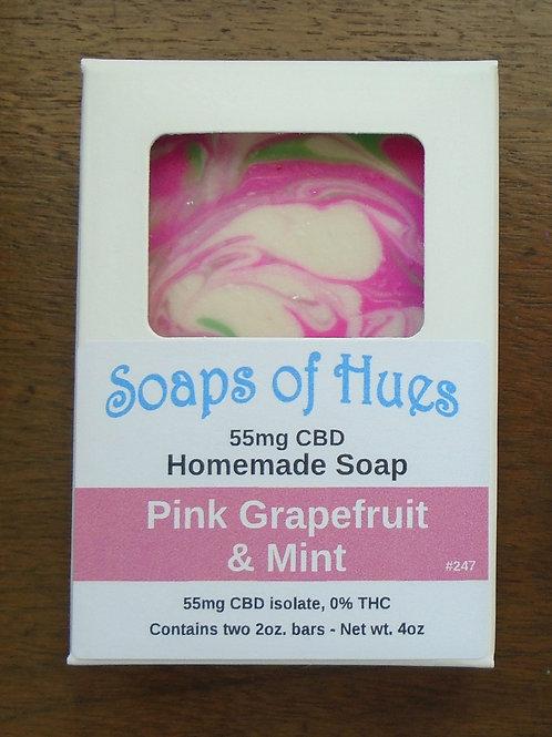Pink Grapefruit & Mint CBD Bar Soap (55mg)