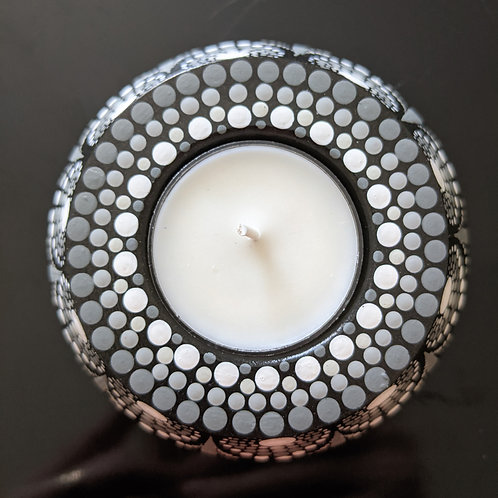 Dotted Tea Light Holder (black, grays, white)