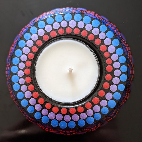 Dotted Tea Light Holder (metallic red, purple, blue)
