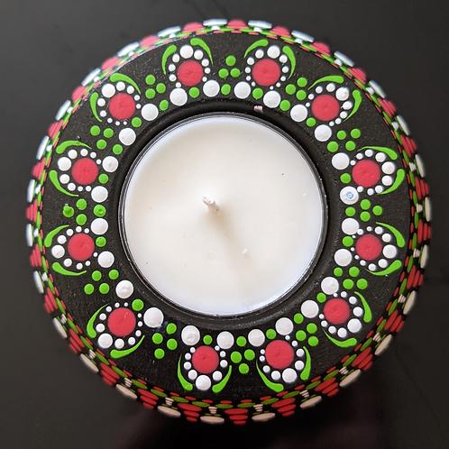 Dotted Tea Light Holder (green, red, white)