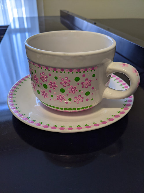 Pink Flowers & Dots Soup Mug & Plate