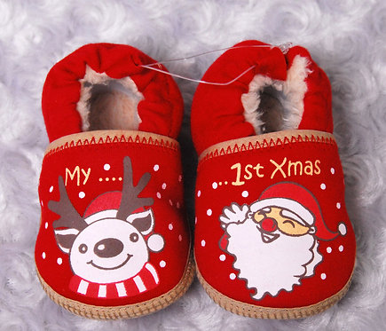 Christmas Santa & Reindeer Shoes with My 1st Xmas print and fur lining